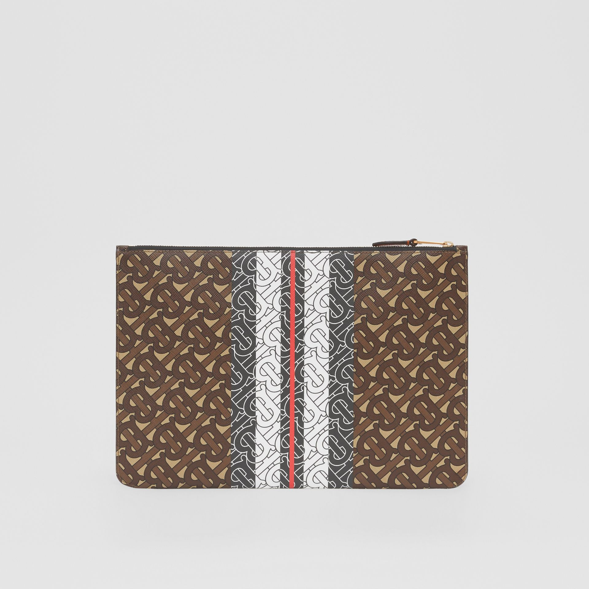 Monogram Stripe E-canvas Pouch in Bridle Brown - Women   Burberry Hong Kong S.A.R - gallery image 6