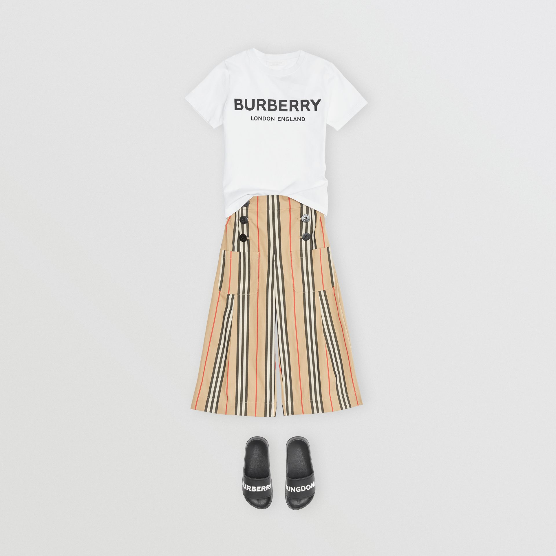 Logo Print Cotton T-shirt in White | Burberry United Kingdom - gallery image 2