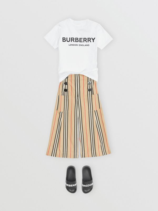 Logo Print Cotton T-shirt in White | Burberry United Kingdom - cell image 2
