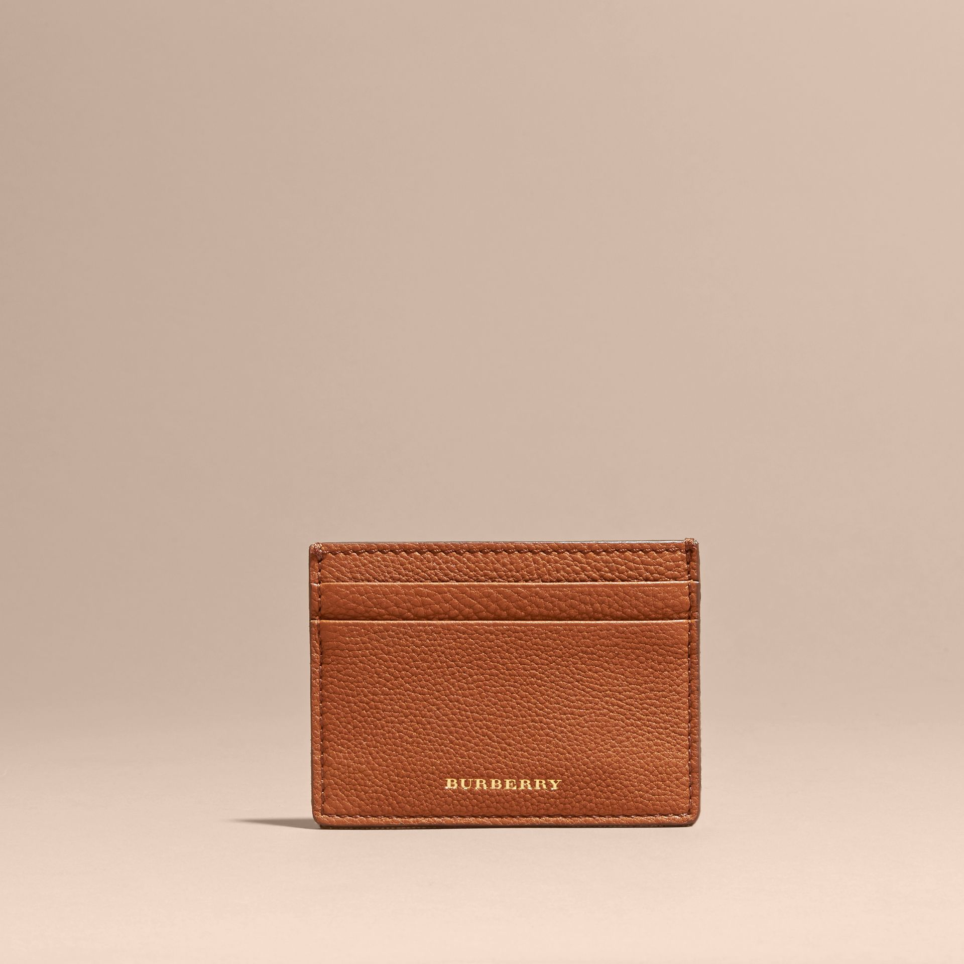 House Check and Grainy Leather Card Case Russet - gallery image 6