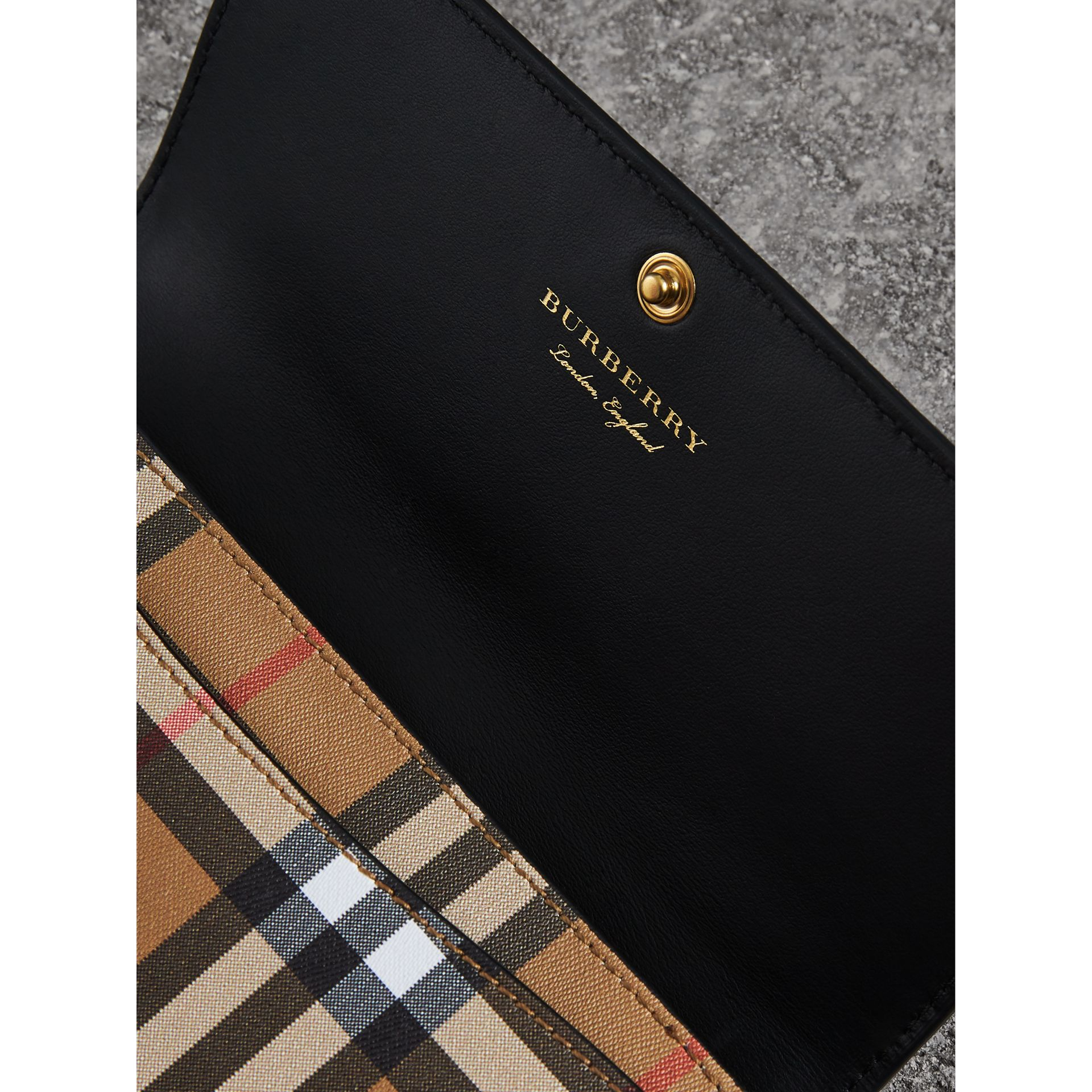 Vintage Check and Leather Continental Wallet in Black - Women | Burberry - gallery image 1