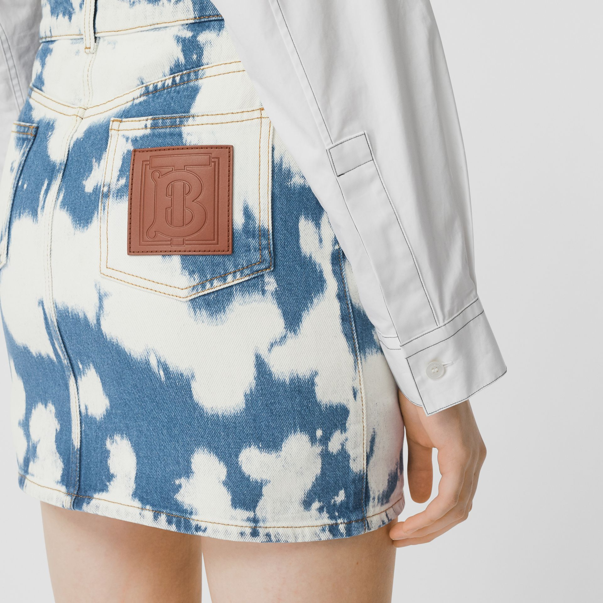 Monogram Motif Bleached Denim Mini Skirt in Blue - Women | Burberry United Kingdom - gallery image 1
