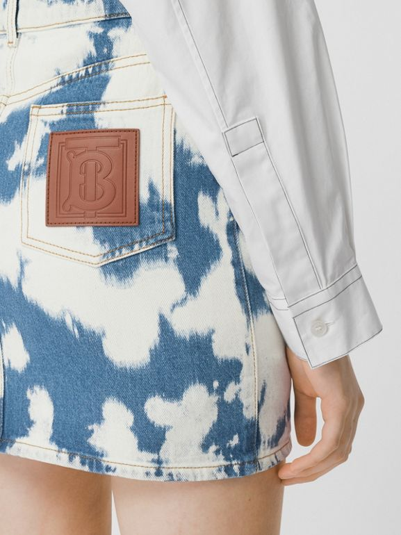 Monogram Motif Bleached Denim Mini Skirt in Blue - Women | Burberry - cell image 1