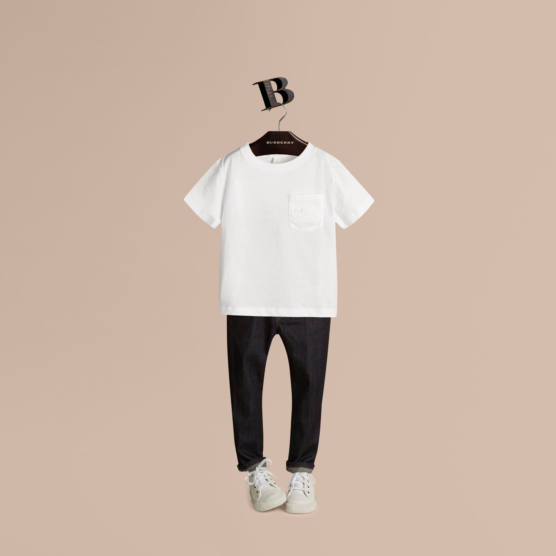 White Crew Neck Cotton T-shirt - gallery image 1