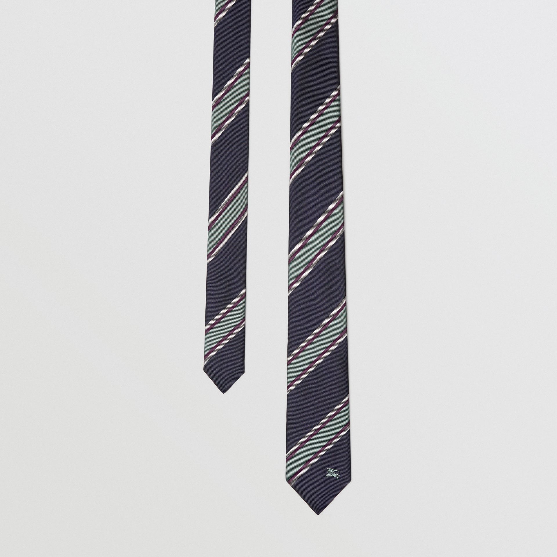 Slim Cut Striped Silk Jacquard Tie in Dark Indigo Blue - Men | Burberry - gallery image 0