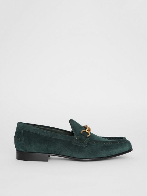 The Suede Link Loafer in Dark Slate Green