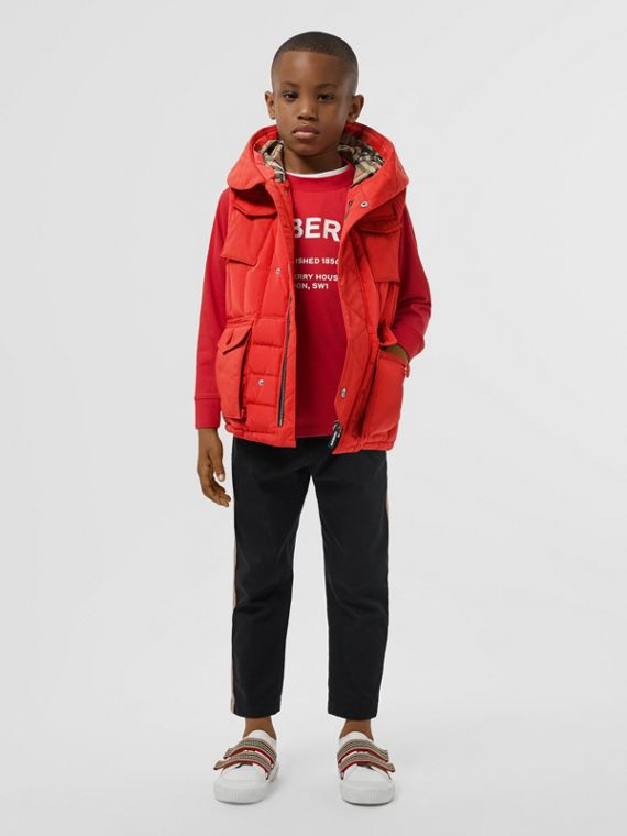 Down-filled Hooded Puffer Gilet in Bright Red