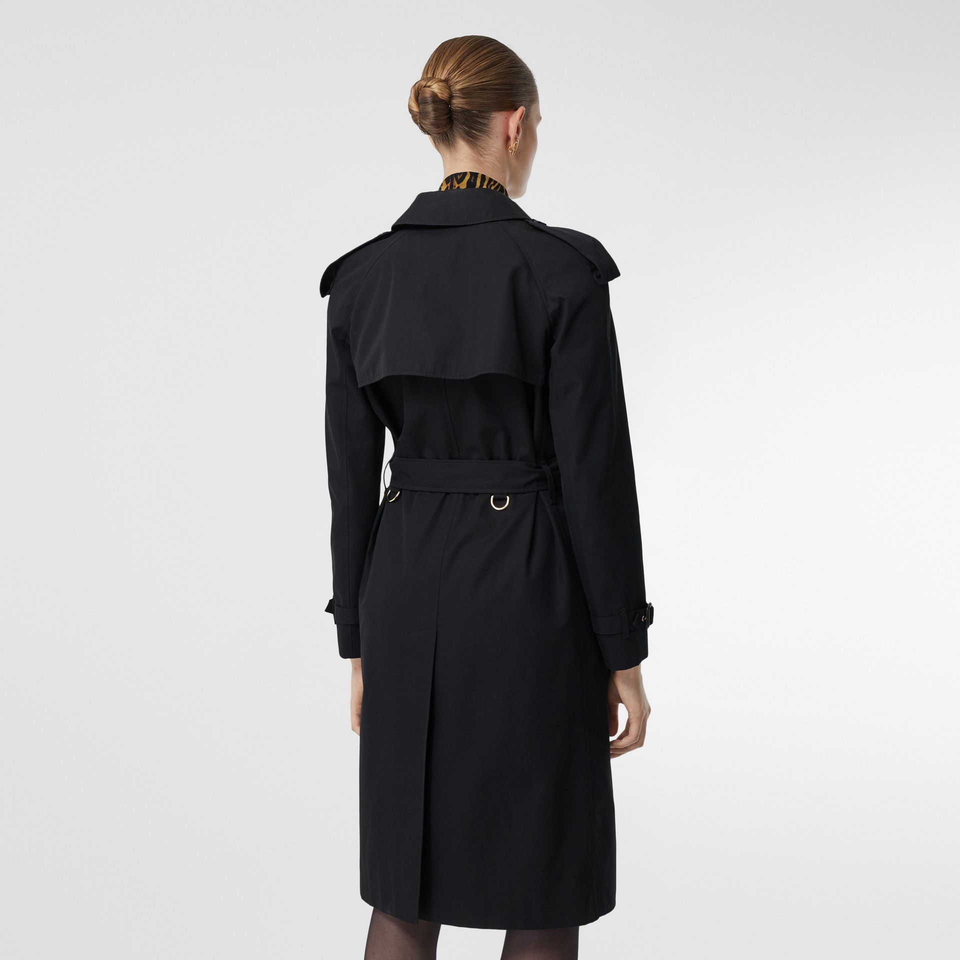 Leopard Print-lined Cotton Gabardine Trench Coat in Black - Women | Burberry Singapore - gallery image 2