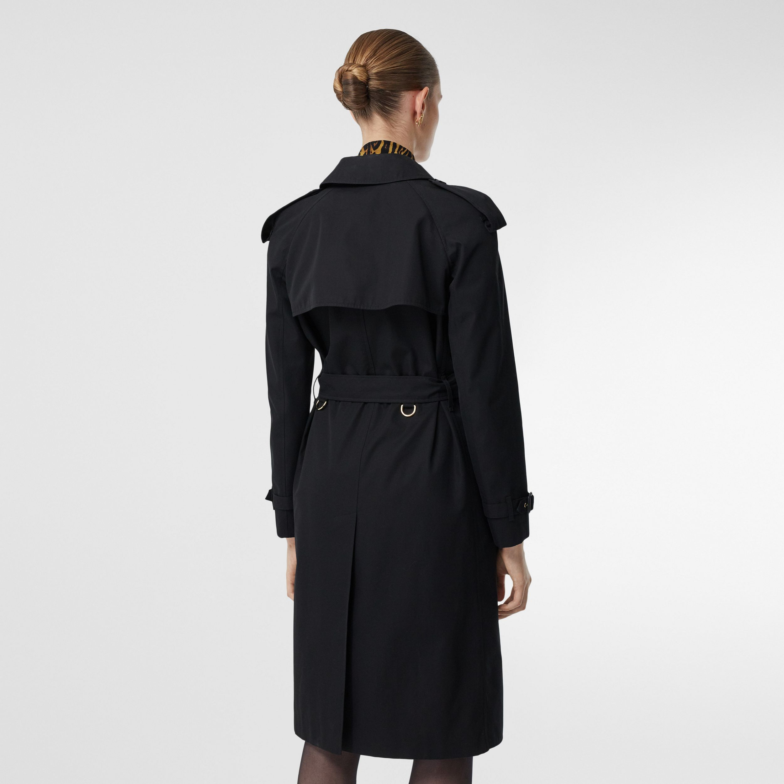 Leopard Print-lined Cotton Gabardine Trench Coat in Black - Women | Burberry - 3