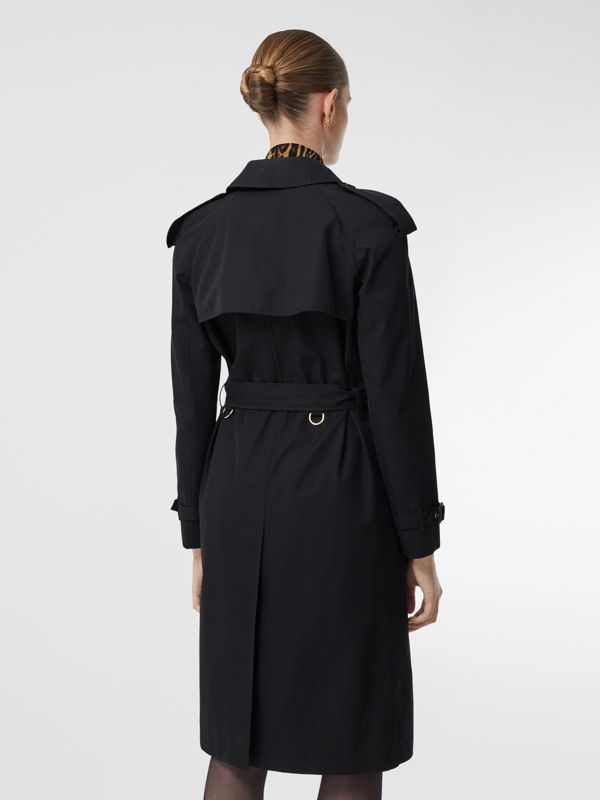 Leopard Print-lined Cotton Gabardine Trench Coat in Black - Women | Burberry Singapore - cell image 2