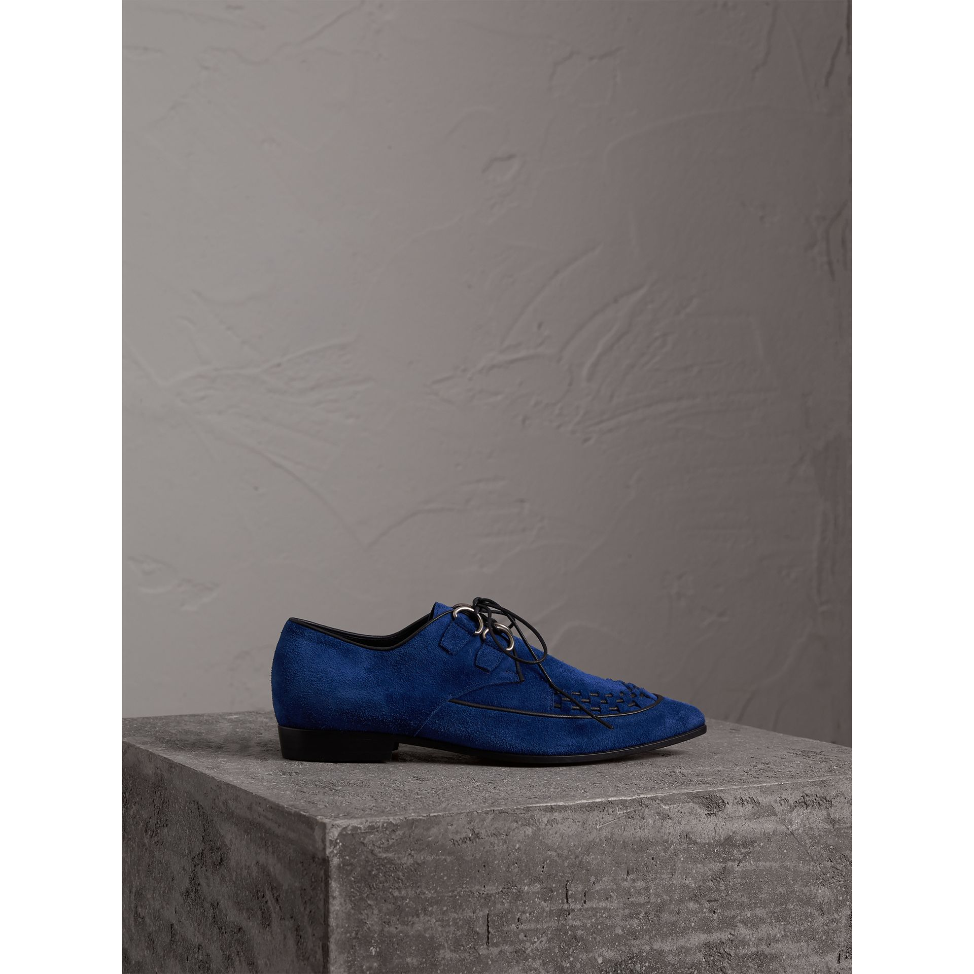 Leather Cord Detail Suede Lace-up Shoes in Brilliant Blue - Women | Burberry - gallery image 5