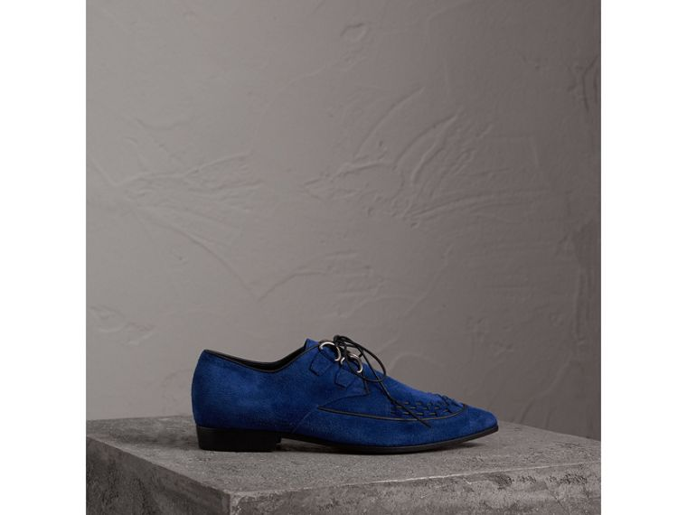 Leather Cord Detail Suede Lace-up Shoes in Brilliant Blue - Women | Burberry Singapore - cell image 4