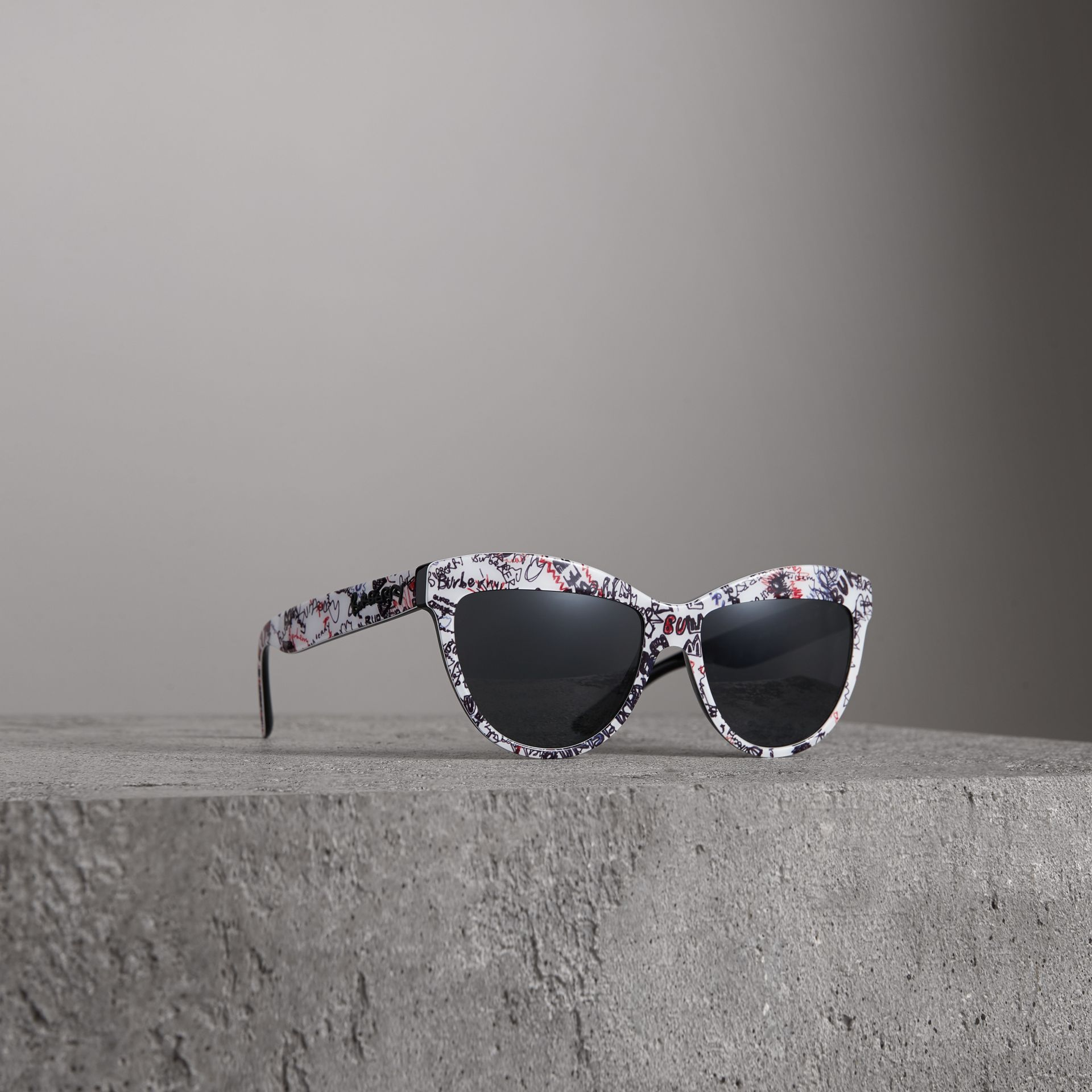Doodle Cat-eye Frame Sunglasses in White - Women | Burberry - gallery image 0