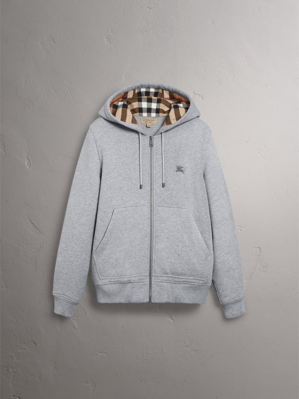 Check Detail Jersey Hooded Top in Pale Grey Melange - Men | Burberry United Kingdom - cell image 3