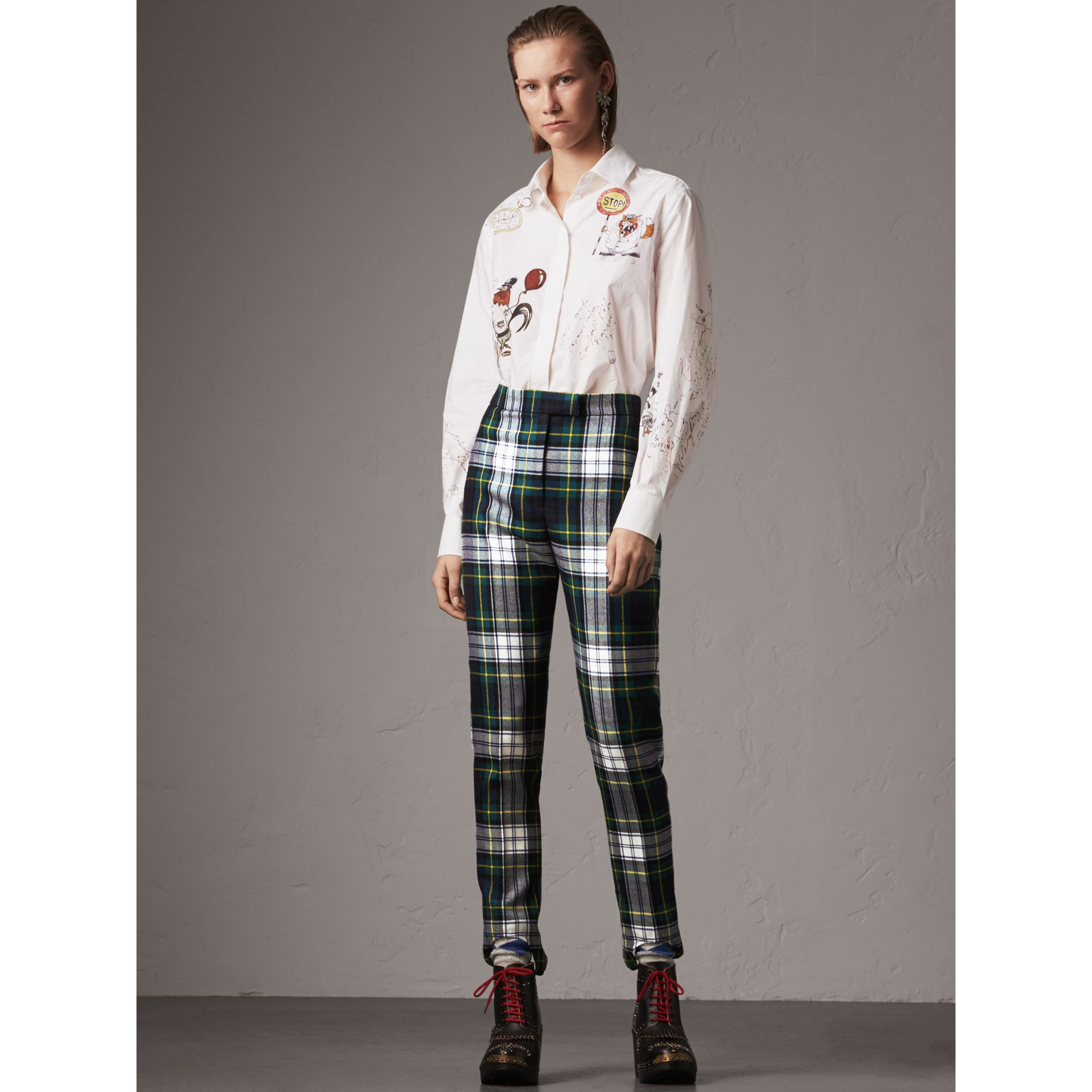 Tartan Wool High-waisted Stirrup Trousers in Ink Blue - Women | Burberry United Kingdom - gallery image 0