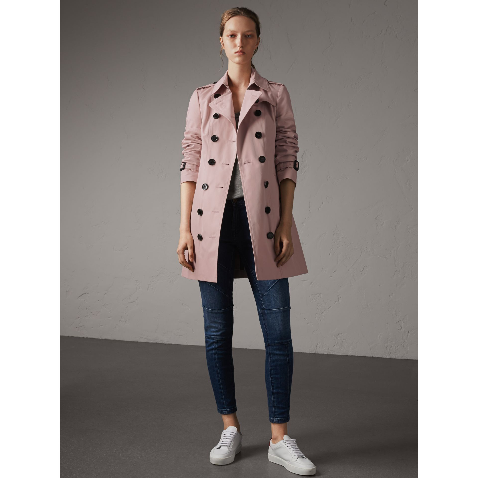 Cotton Gabardine Mid-length Trench Coat in Ice Pink - Women | Burberry Australia - gallery image 6