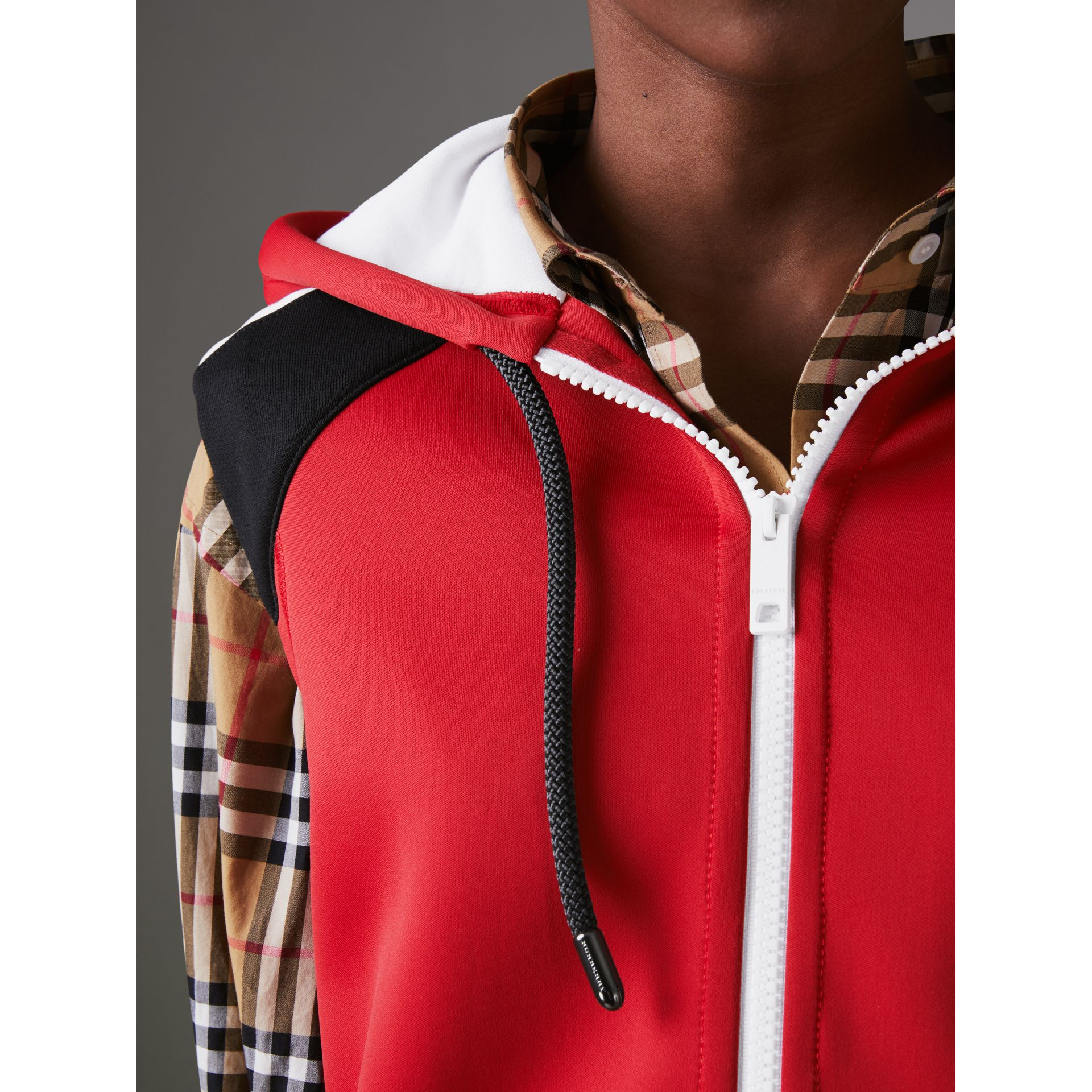 Stripe Detail Jersey Sleeveless Hoodie in Bright Poppy Red - Women | Burberry - gallery image 1