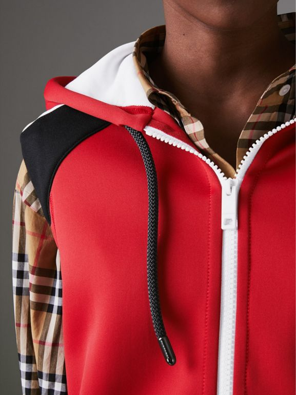 Stripe Detail Jersey Sleeveless Hoodie in Bright Poppy Red - Women | Burberry United Kingdom - cell image 1