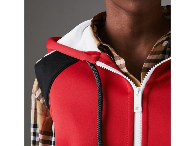 Stripe Detail Jersey Sleeveless Hoodie in Bright Poppy Red - Women | Burberry - cell image 1