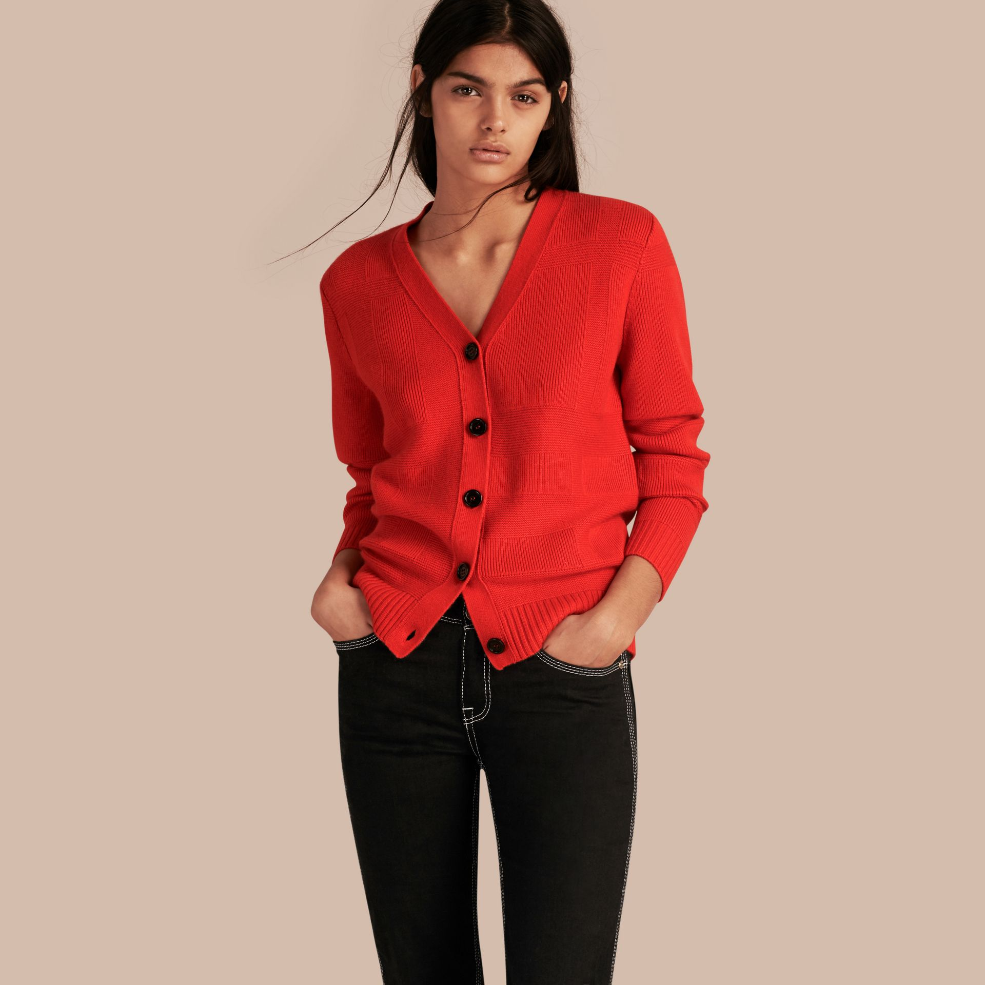Check-knit Wool Cashmere Cardigan in Bright Military Red - gallery image 1