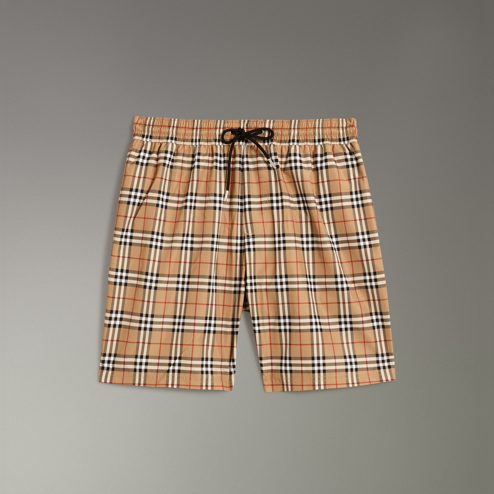 Vintage Check Drawcord Swim Shorts in Camel - Men | Burberry United Kingdom - gallery image 0