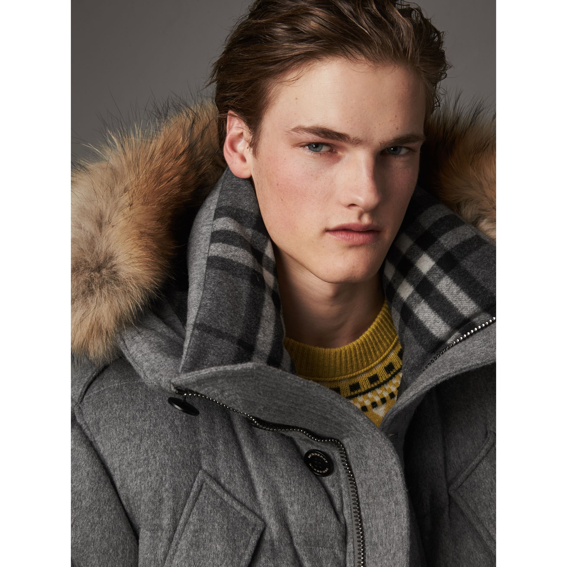 Detachable Fur Trim Cashmere Down-filled Parka in Mid Grey Melange - Men | Burberry United Kingdom - gallery image 1