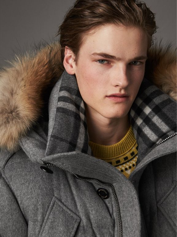 Detachable Fur Trim Cashmere Down-filled Parka in Mid Grey Melange - Men | Burberry - cell image 1