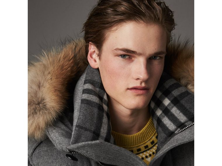 Detachable Fur Trim Cashmere Down-filled Parka in Mid Grey Melange - Men | Burberry United Kingdom - cell image 1
