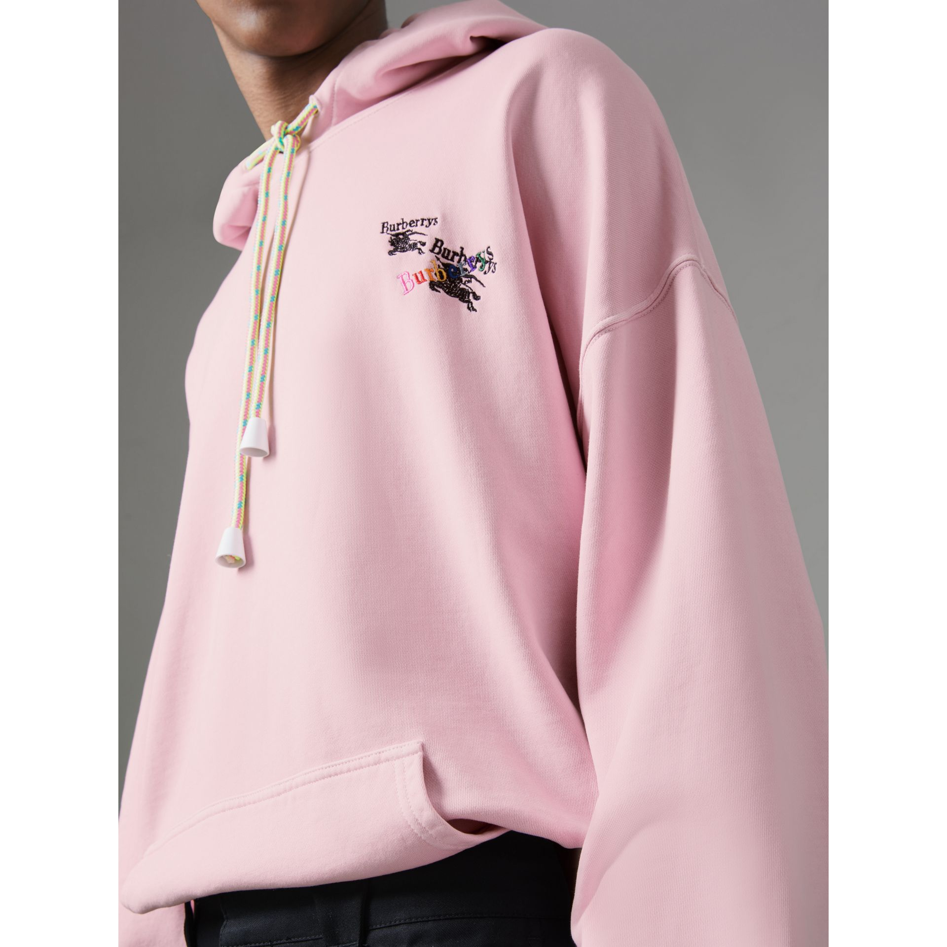 Equestrian Logo Embroidery Cotton Oversized Hoodie in Light Pink - Men | Burberry Australia - gallery image 1