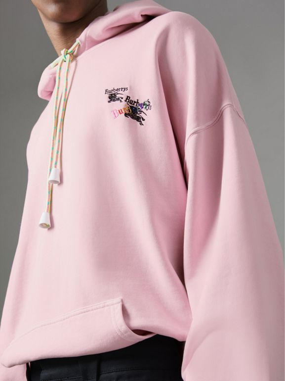 Equestrian Logo Embroidery Cotton Oversized Hoodie in Light Pink - Men | Burberry Australia - cell image 1