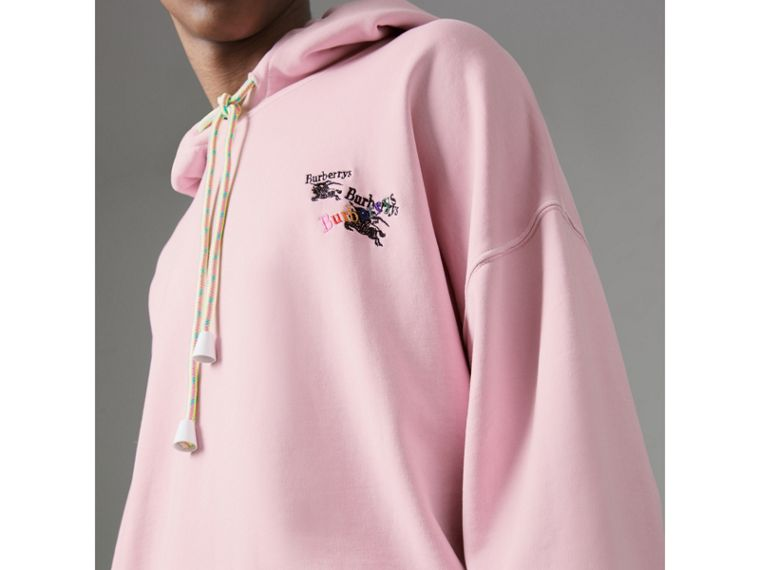 Equestrian Logo Embroidery Cotton Oversized Hoodie in Light Pink - Men | Burberry Singapore - cell image 1