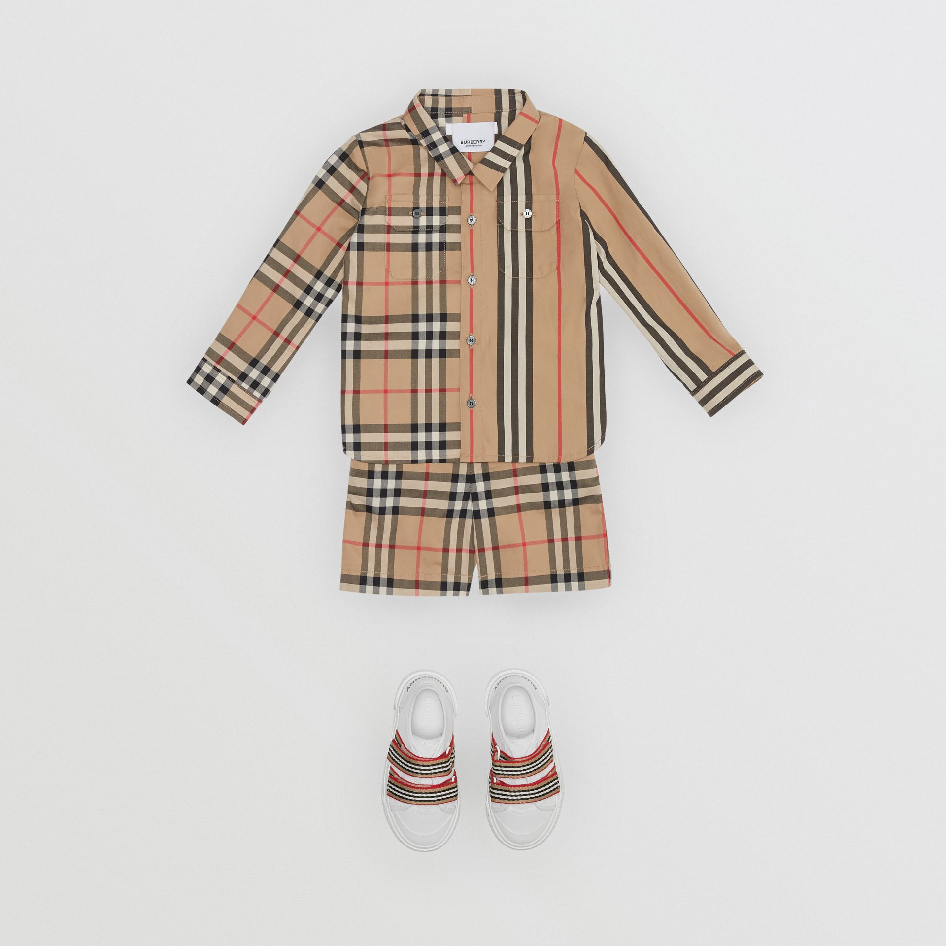 Panelled Vintage Check and Icon Stripe Cotton Shirt in Archive Beige - Children | Burberry - gallery image 2