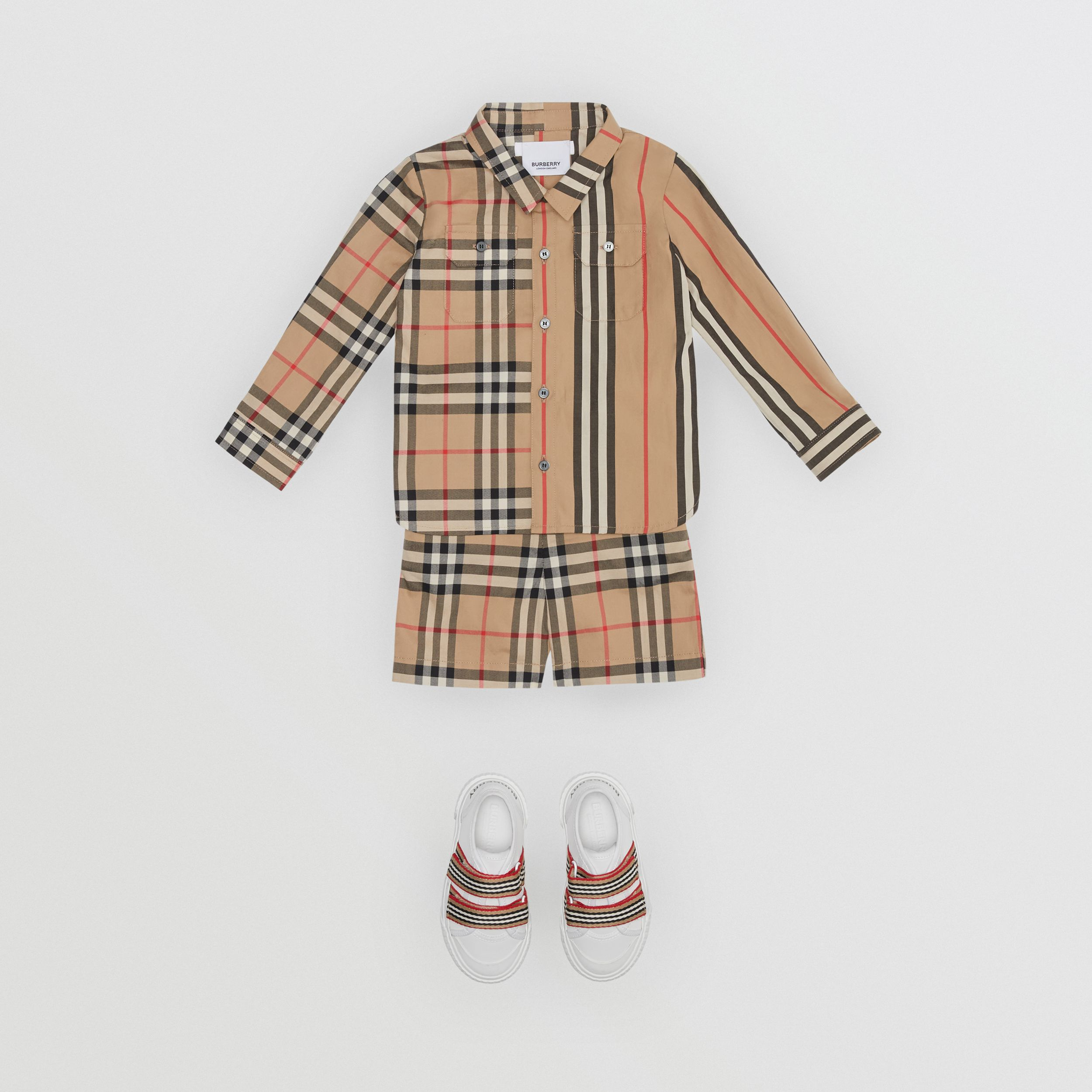 Panelled Vintage Check and Icon Stripe Cotton Shirt in Archive Beige - Children | Burberry United Kingdom - 3