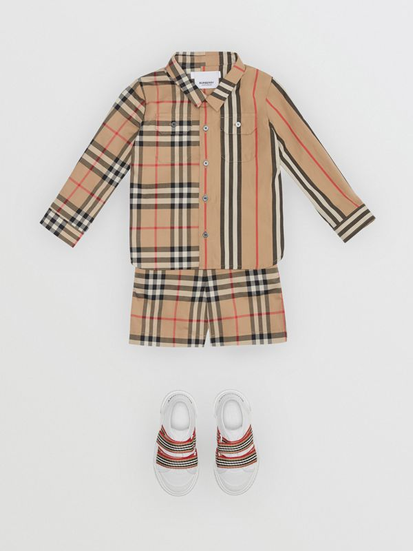 Panelled Vintage Check and Icon Stripe Cotton Shirt in Archive Beige - Children | Burberry - cell image 2