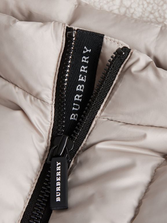 Detachable Hood Showerproof Down-filled Gilet in Taupe Grey | Burberry - cell image 1