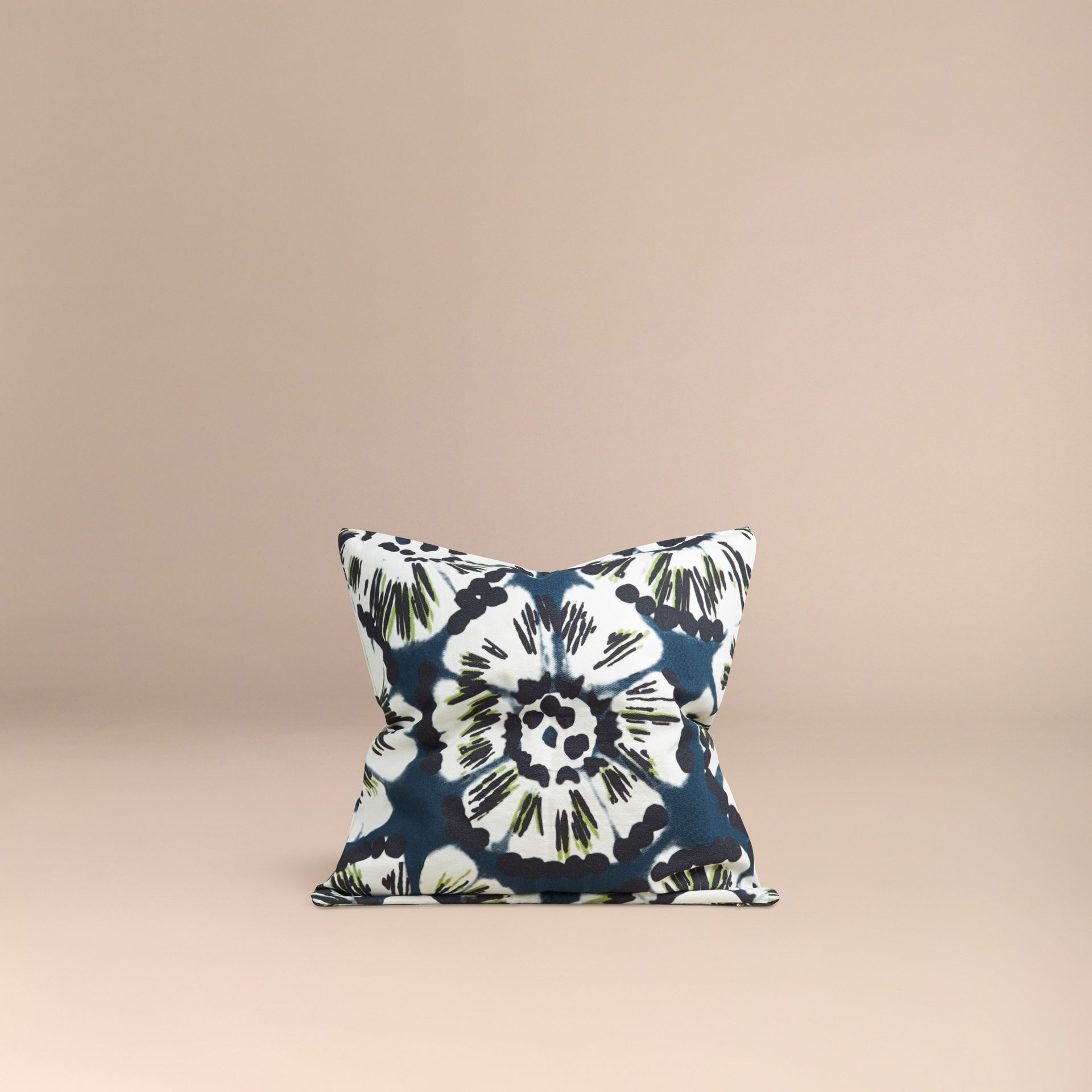 Deep cerulean blue Floral Tie-dye Cotton Cushion Cover Deep Cerulean Blue - gallery image 3