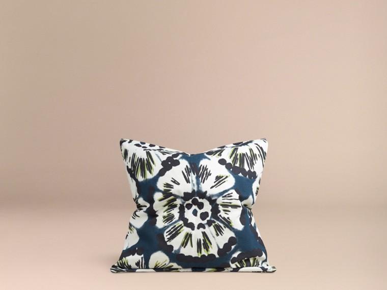 Deep cerulean blue Floral Tie-dye Cotton Cushion Cover Deep Cerulean Blue - cell image 2