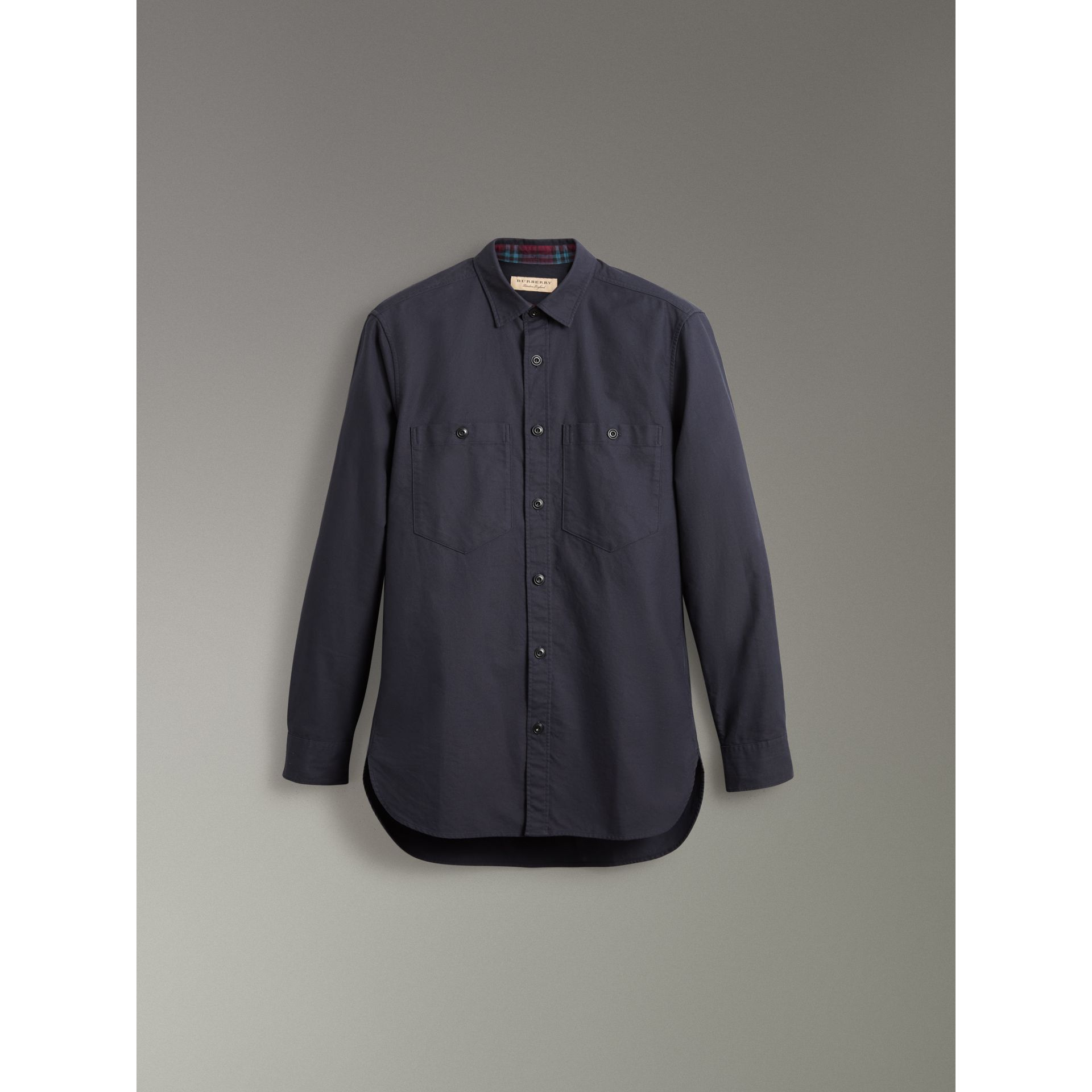 Cotton Oxford Shirt in Navy Blue - Men | Burberry - gallery image 3