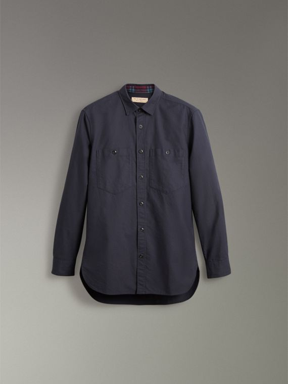Cotton Oxford Shirt in Navy Blue - Men | Burberry - cell image 3