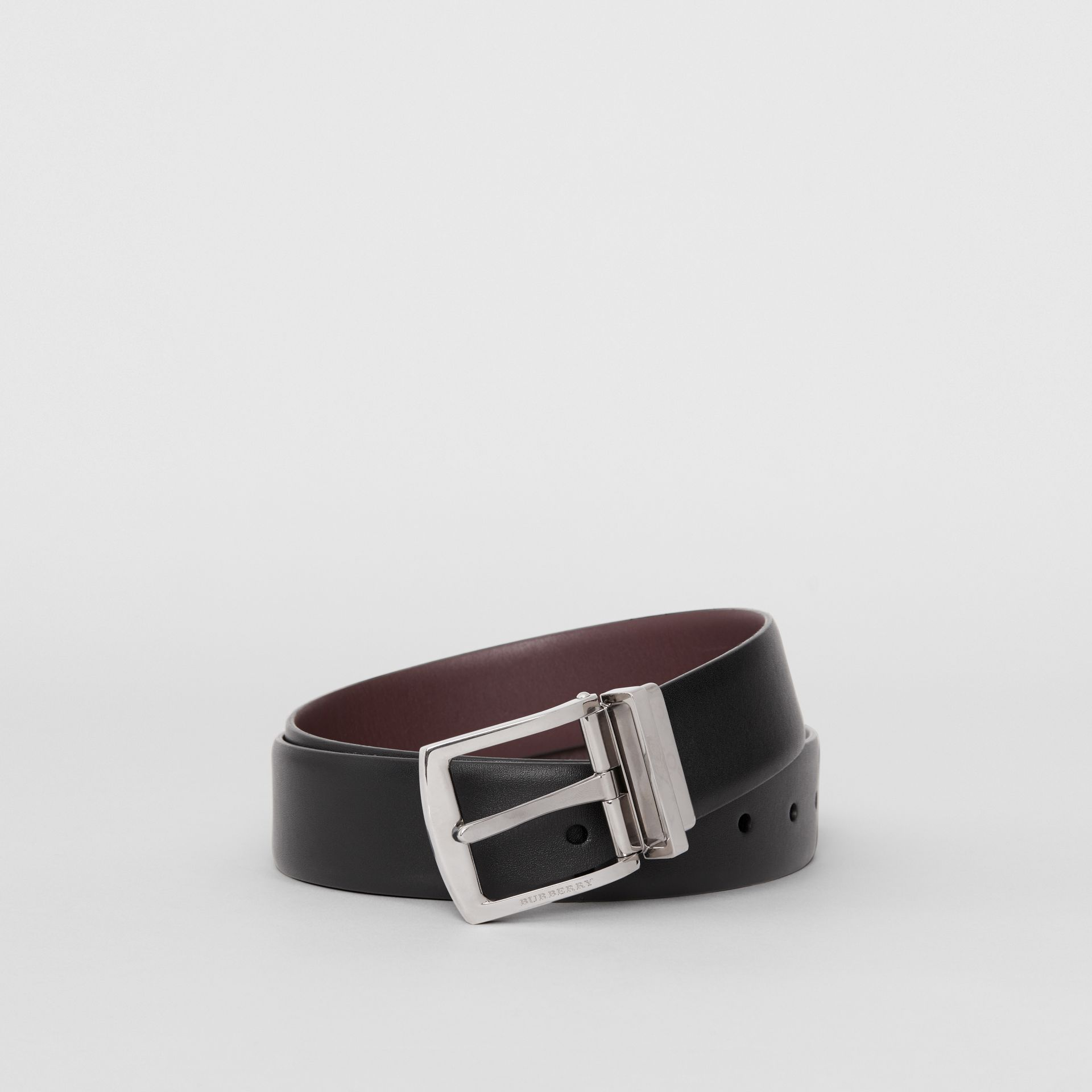 Reversible Leather Belt in Black - Men | Burberry Australia - gallery image 0