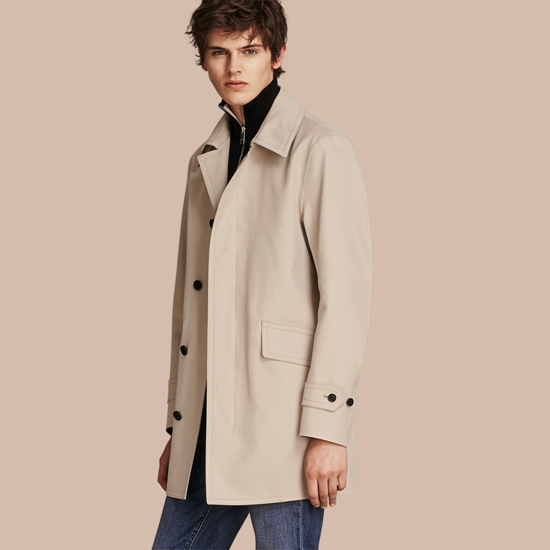 Showerproof Cotton Gabardine Car Coat in Stone - Men | Burberry - gallery image 1