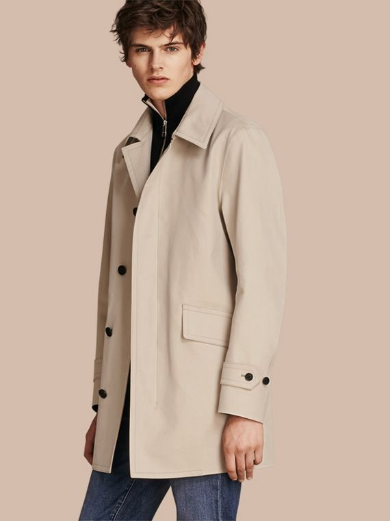 Showerproof Cotton Gabardine Car Coat Stone