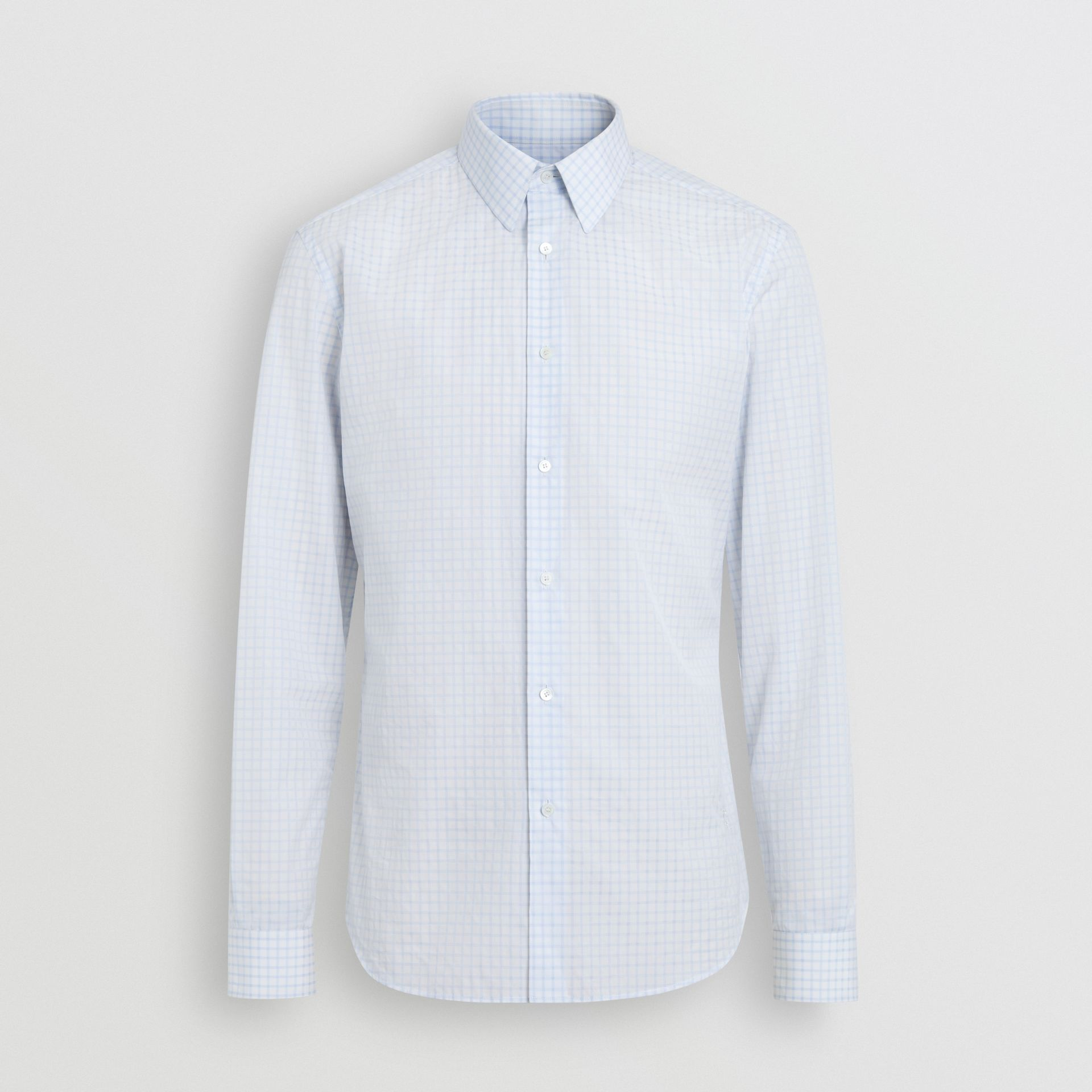 Slim Fit Check Cotton Poplin Shirt in City Blue - Men | Burberry Canada - gallery image 3