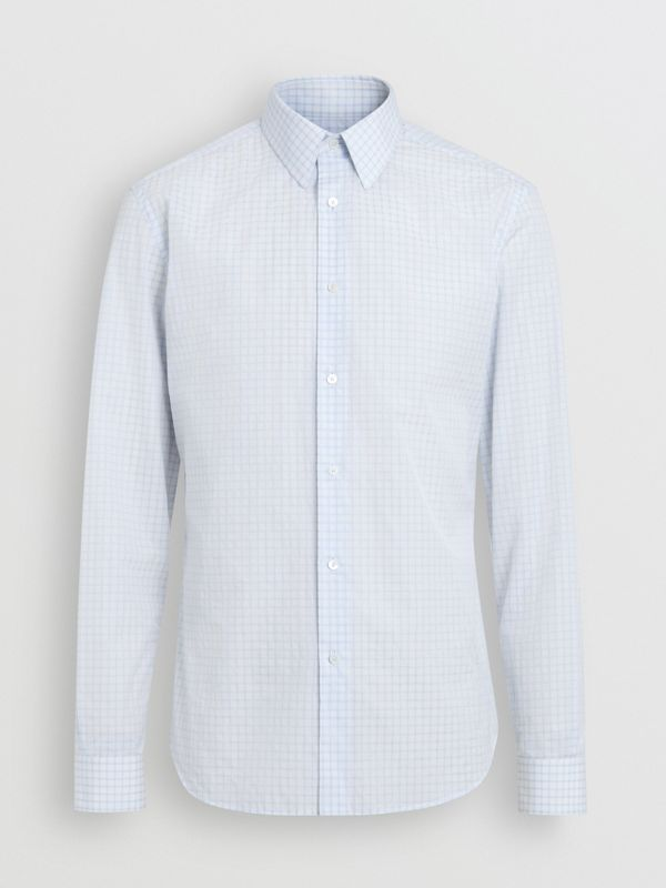 Slim Fit Check Cotton Poplin Shirt in City Blue - Men | Burberry Canada - cell image 3