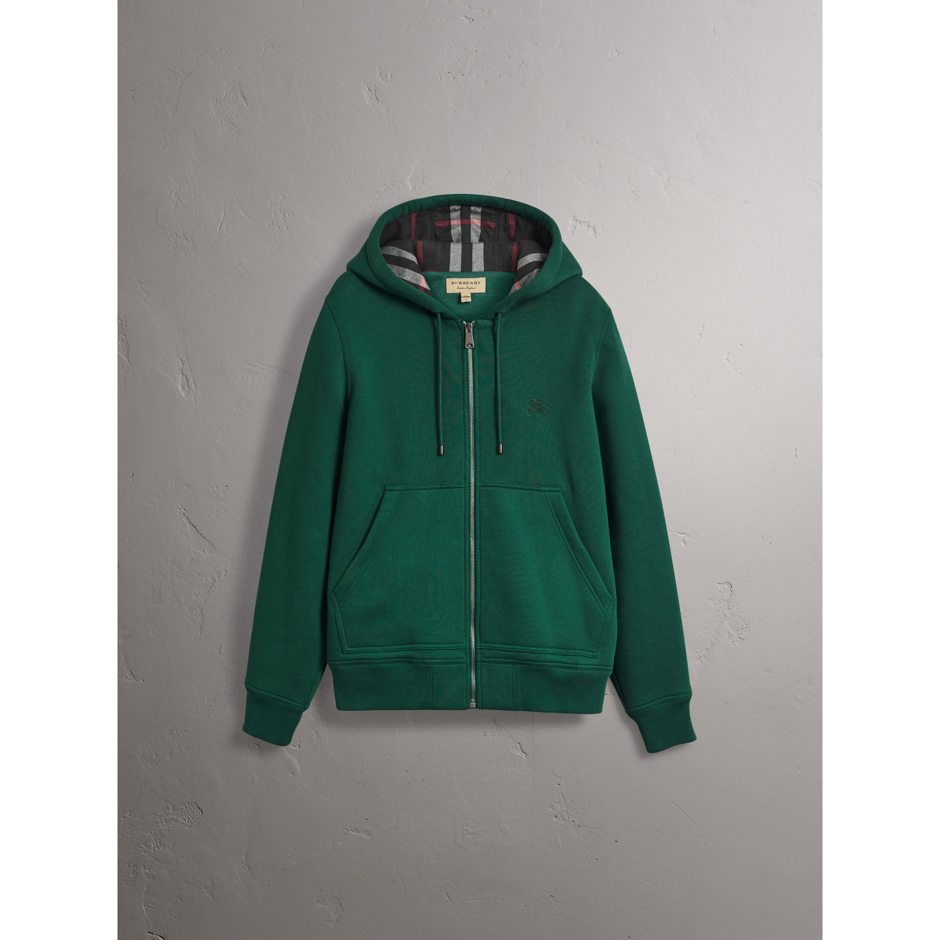 Check Detail Jersey Hooded Top in Dark Forest Green - Men | Burberry United Kingdom - gallery image 3
