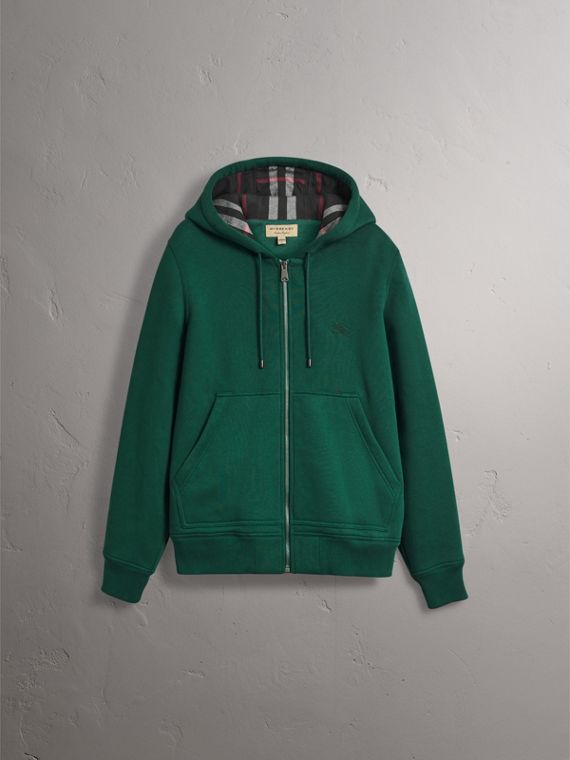 Check Detail Jersey Hooded Top in Dark Forest Green - Men | Burberry - cell image 3