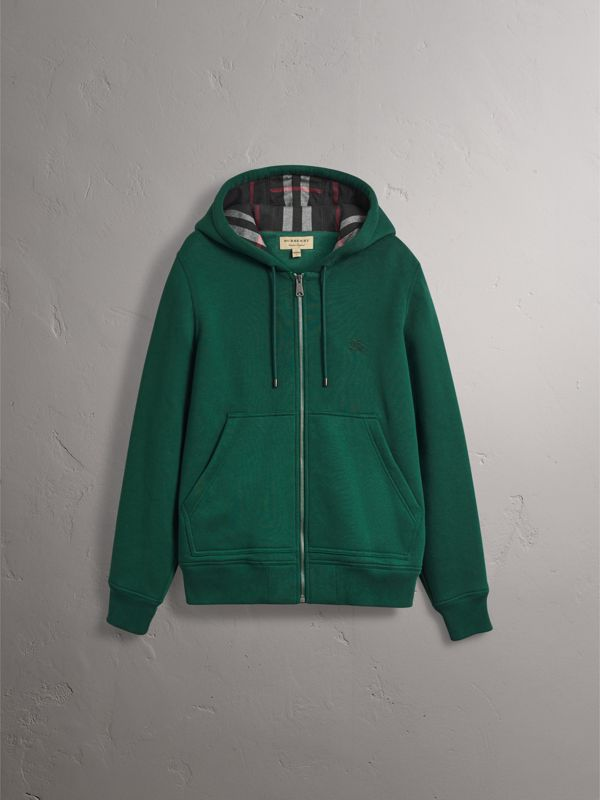 Check Detail Jersey Hooded Top in Dark Forest Green - Men | Burberry United Kingdom - cell image 3