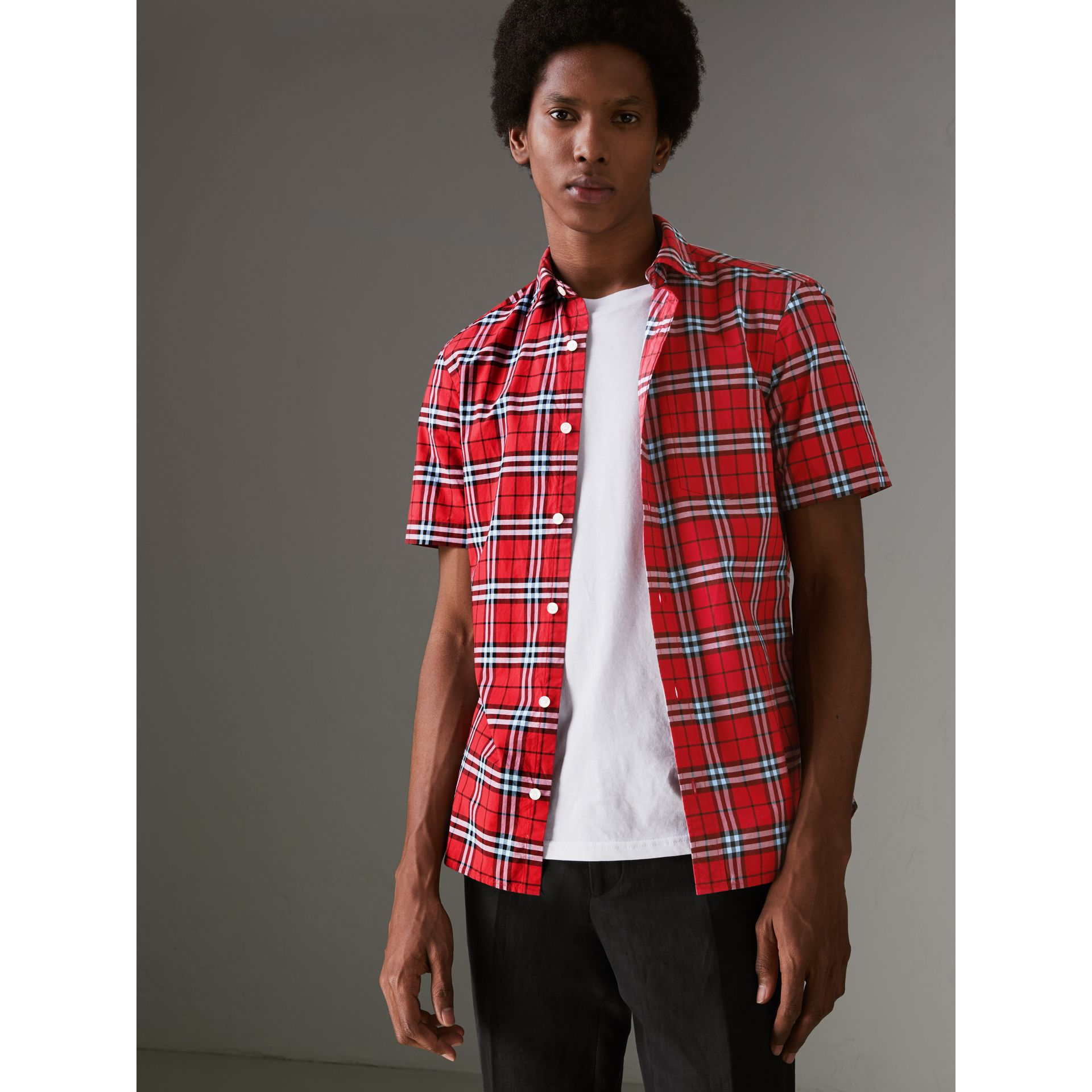 Short-sleeve Check Cotton Shirt in Bright Red - Men | Burberry - gallery image 4