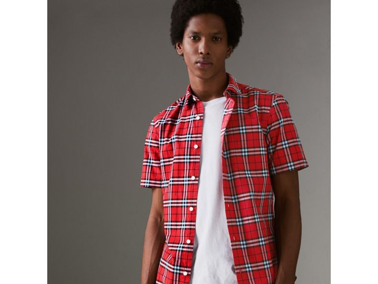 Short-sleeve Check Cotton Shirt in Bright Red - Men | Burberry - cell image 4