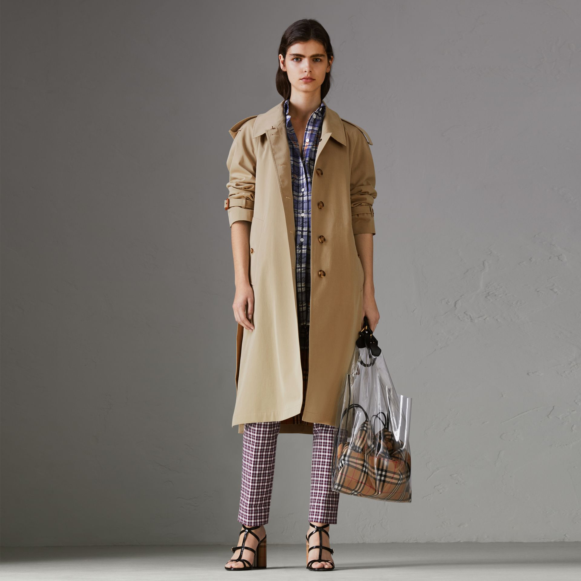Side-slit Tropical Gabardine Trench Coat in Oatmeal - Women | Burberry United States - gallery image 0